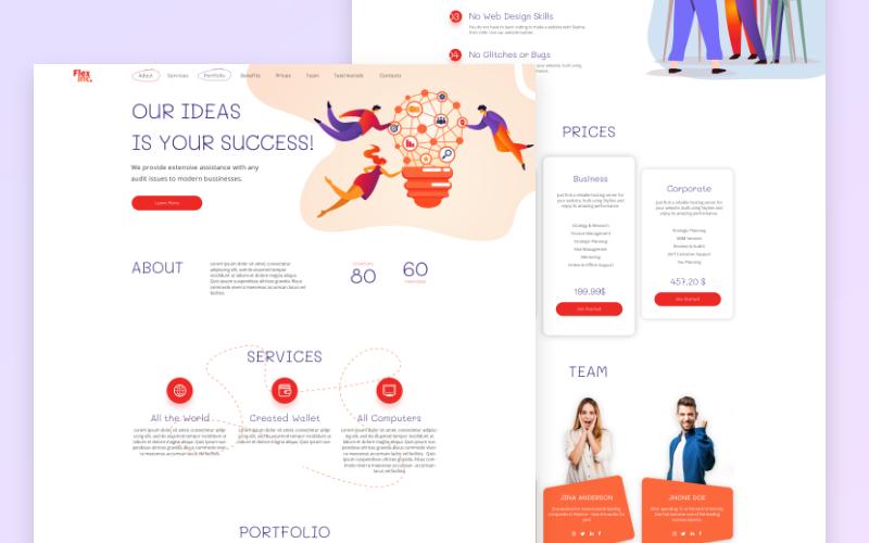 FlexInc. vstupní stránka pro spuštění šablony PSD