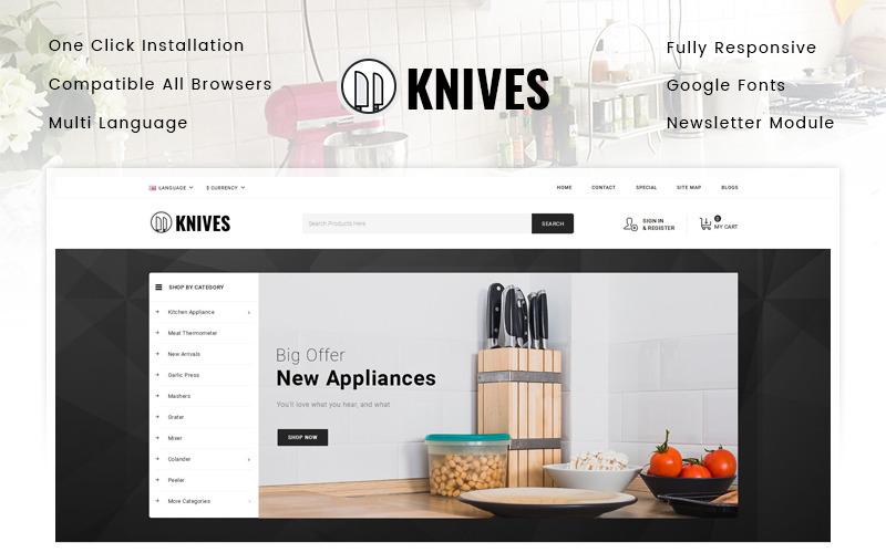 Nože - šablona OpenCart obchodu s kuchyňskými spotřebiči
