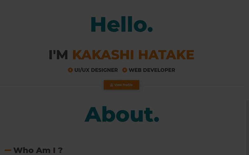 Kakashi - kreativní osobní šablona vstupní stránky