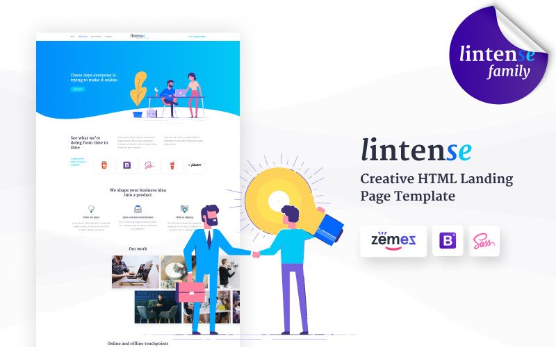 Lintense Digital Agency - Creative HTML Landing Page Template