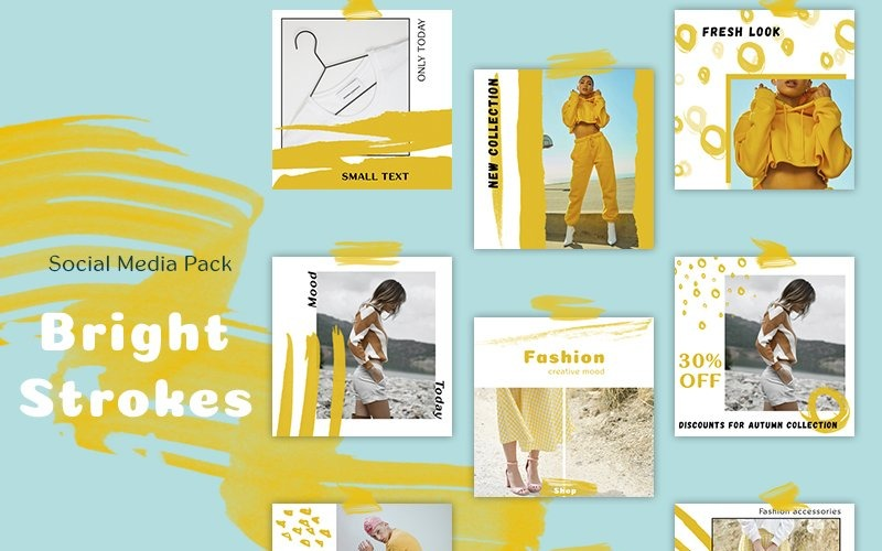 Bright Strokes - Pack Social Media Template