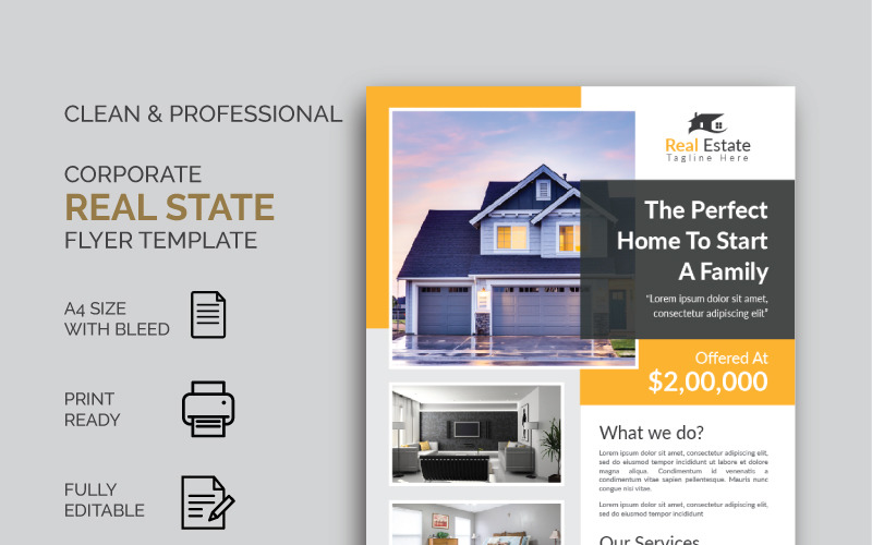 Moderne Real State Flyer - Huisstijlsjabloon
