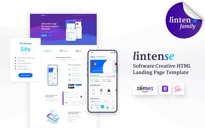 Lintense Mobile App - Software Creative HTML Landing Page Template
