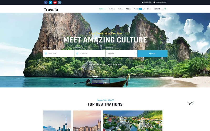 Travela - Travel and Tourism Joomla Template