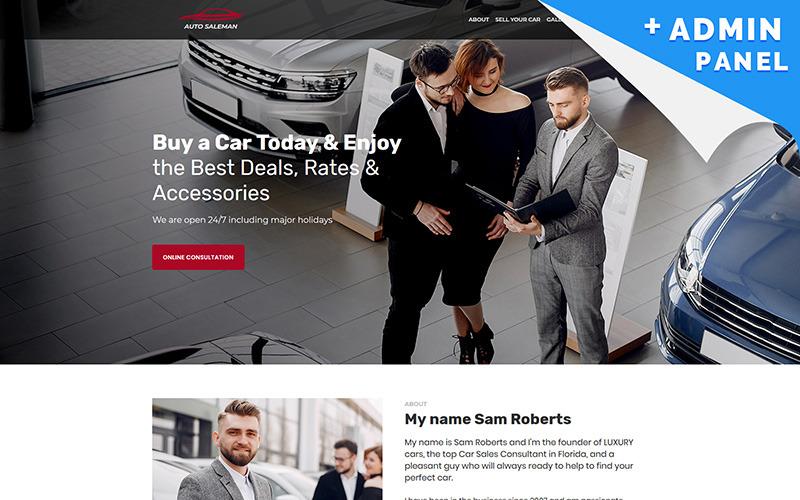 Modelo de página inicial de vendedor de automóveis