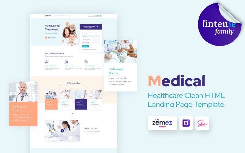 Lintense Medical - Healthcare Clean HTML Landing Page Template