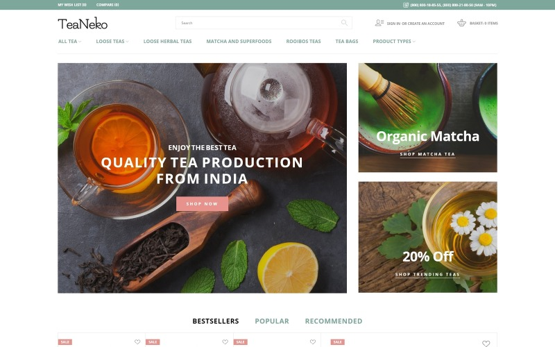 TeaNeko - Çay Sitesi Magento Teması