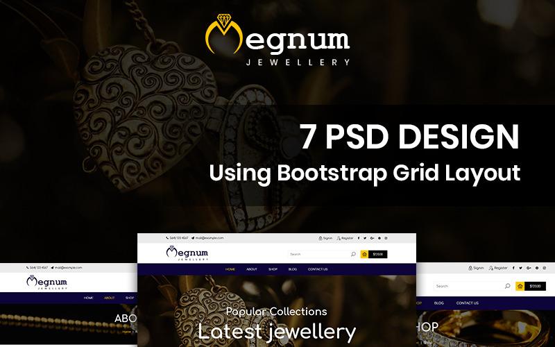Megnum Jewellery - Ювелірні вироби PSD шаблон