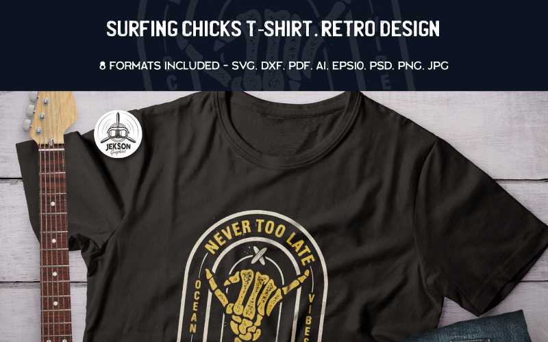 Серфинг цыплят. Ретро-дизайн - Дизайн футболки