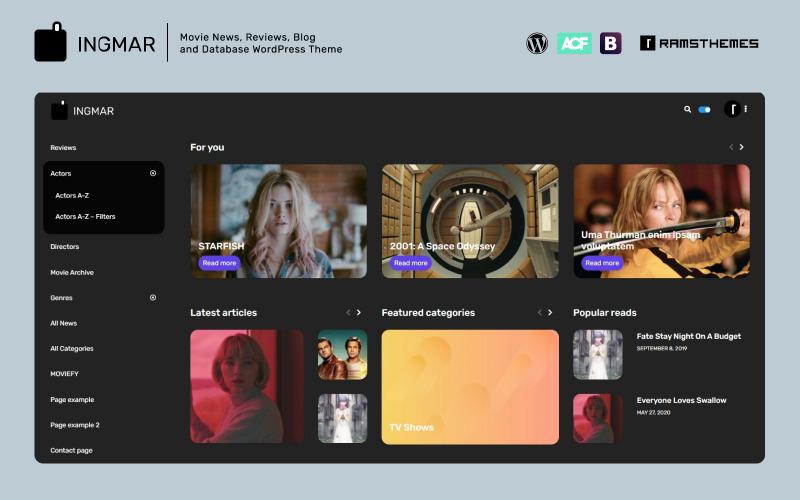 INGMAR - filmové novinky, recenze, blog a databáze WordPress téma