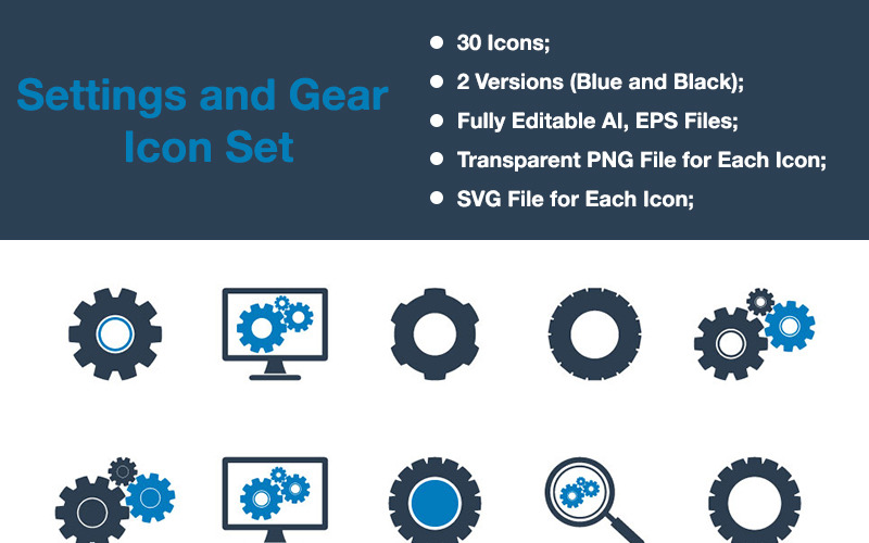 Settings & Gear - Premium Vector Icon Set