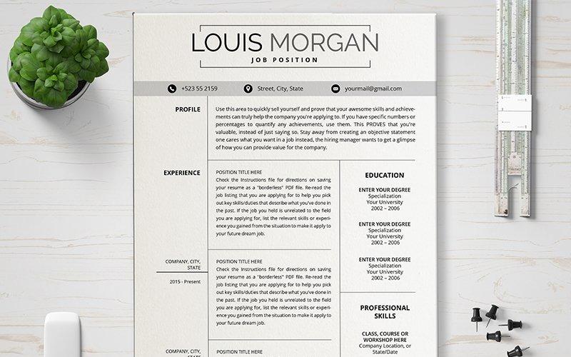 Шаблон резюме Louis