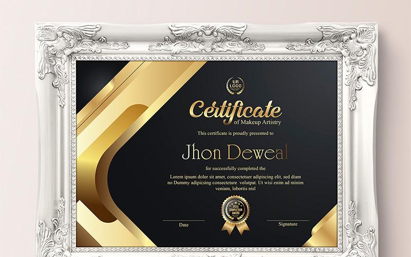 Modello di certificato oro elegante e nero argento