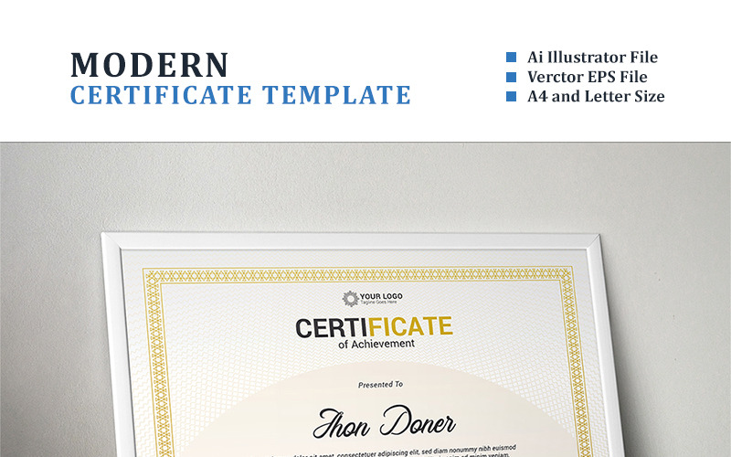 Modern Diploma, Achievement Certificate Template