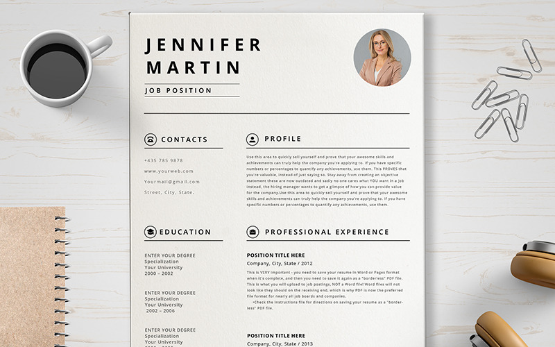 Plantilla de CV de Jennifer Martin