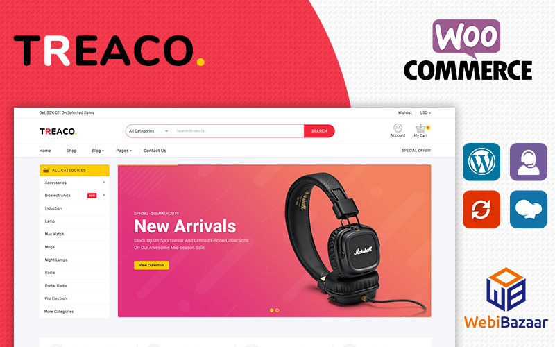 Treaco - Electronic Multipurpose Store WooCommerce Theme