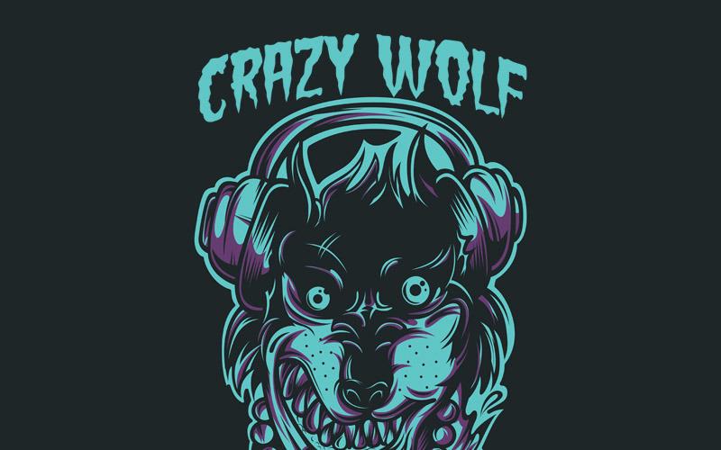 Crazy Wolf - Дизайн футболки