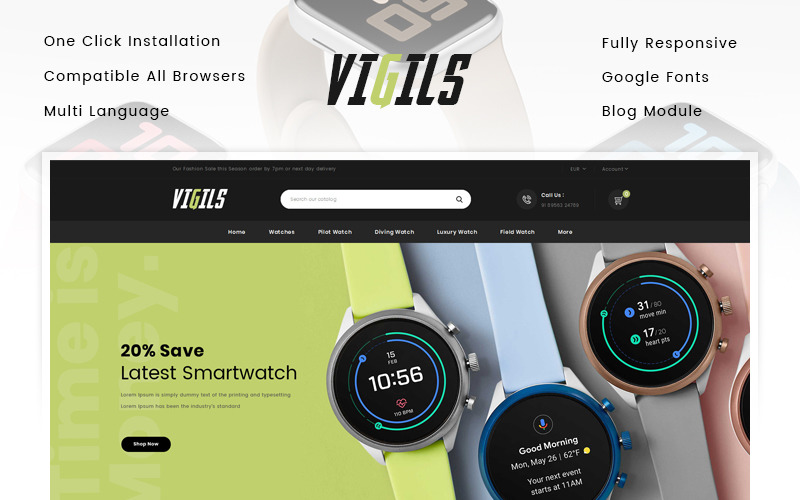 Vigils - Tema de PrestaShop para Smart Watch Store