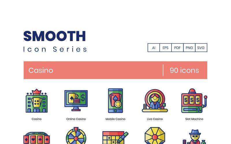 90 иконок казино - набор гладких серий