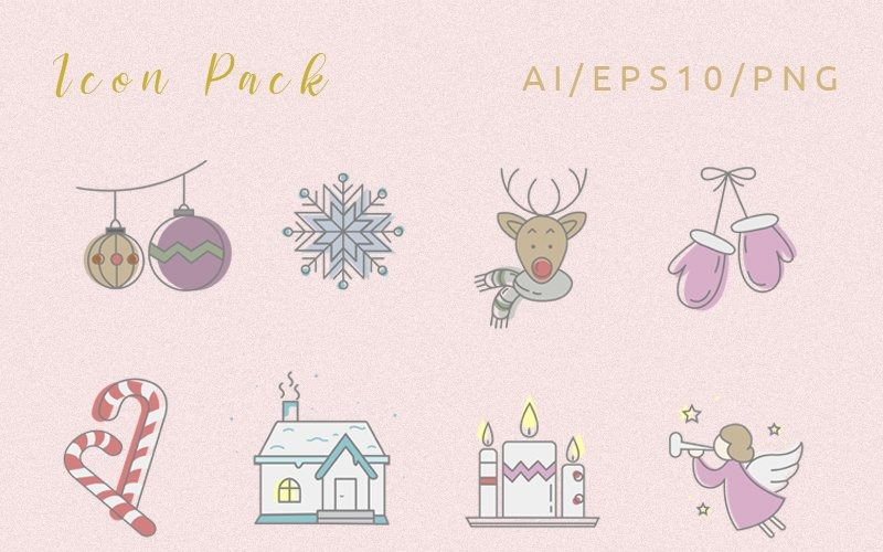 Frohe Weihnachten Icon Set
