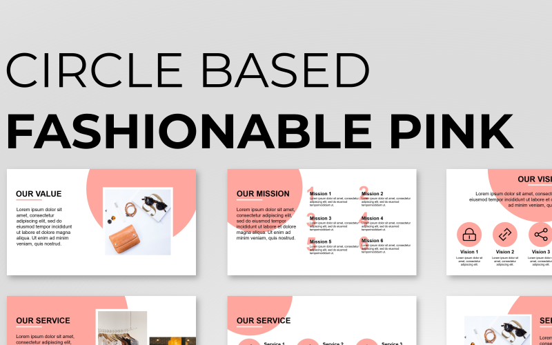 Circle Based Fashion Presentation PowerPoint Template