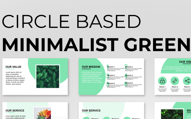 Circle Based Minimalist Green Presentation PowerPoint Template