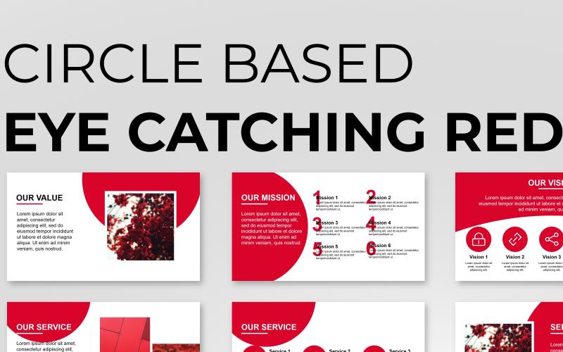 Modelo de PowerPoint de apresentação em vermelho baseado em círculo