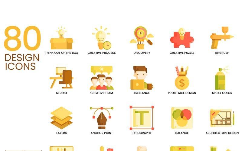80 иконок дизайна - набор серии карамель
