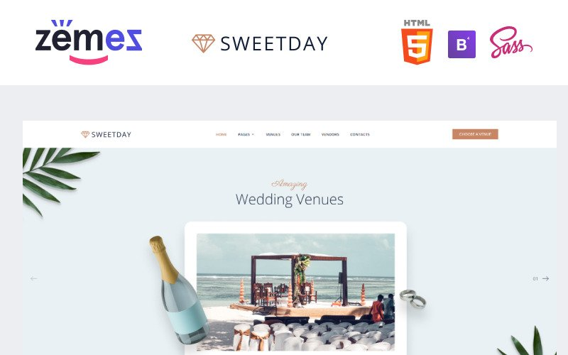 SweetDay - Wedding Venue Agency Website Template