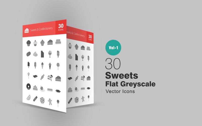 Набор из 30 конфет и кондитерских изделий в плоской шкале серого