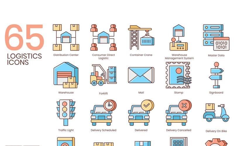 65 логистических иконок - набор серии мед
