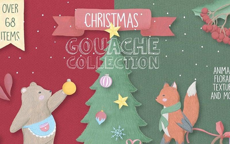 Weihnachts-Gouache-Sammlung - Illustration