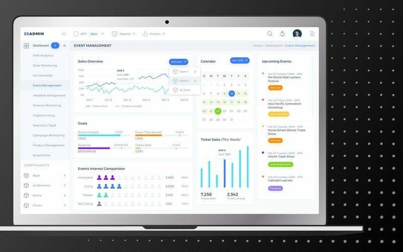Event Management Admin Dashboard UI