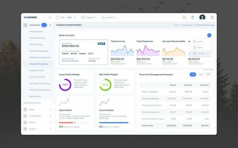 Finance Monitoring Admin Dashboard UI