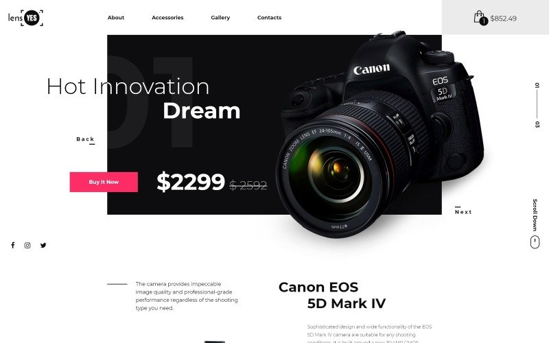 Lens Yes - Digital Camera Landing Page Template