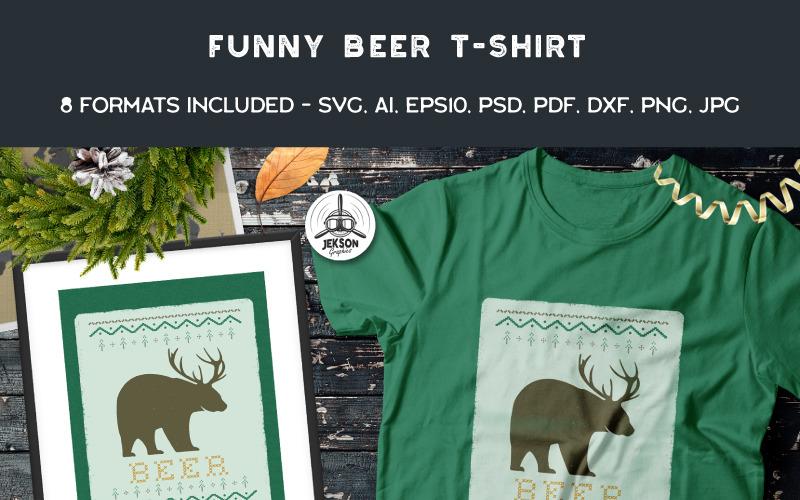 Śmieszny świąteczny brzydki sweter - piwo - projekt koszulki