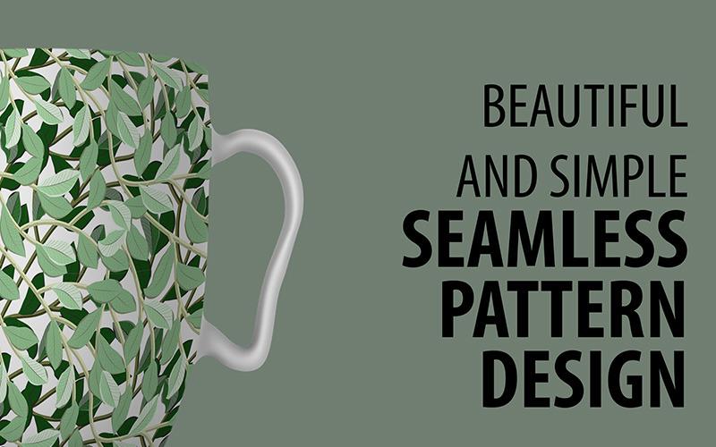 Fantastico disegno floreale ripetuto con motivo a foglie e rami