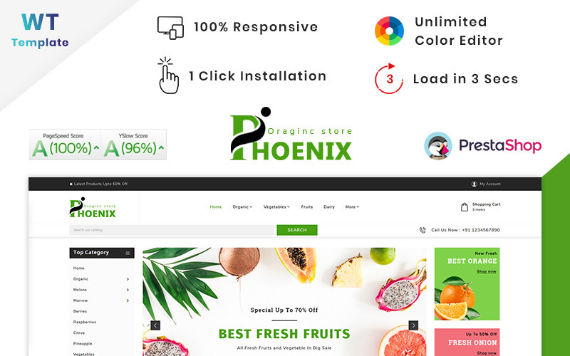 Тема PrestaShop Phoenix Organic Big Mall