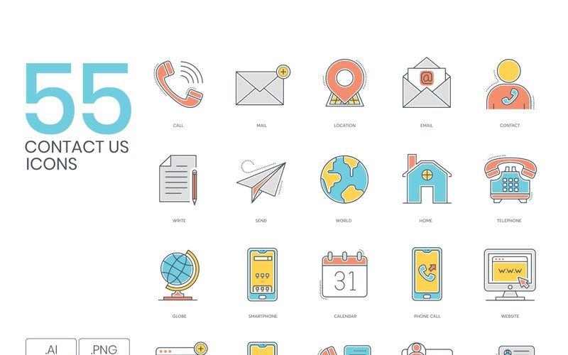 55 значков Свяжитесь с нами - набор серии Color Line
