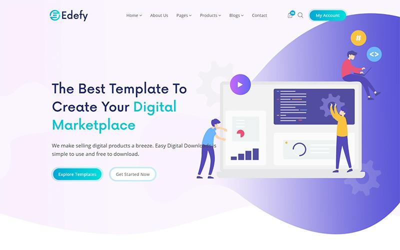 Edefy - React Js Digital Marketplace шаблон веб-сайту