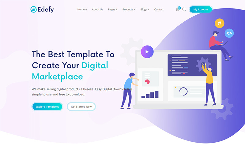 Edefy - React Js Digital Marketplace Website Template