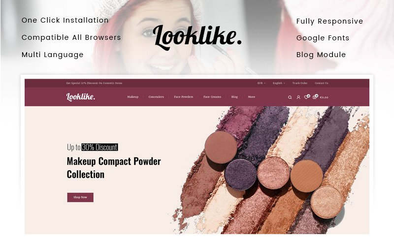 Looklike - Tema da PrestaShop da loja de cosméticos