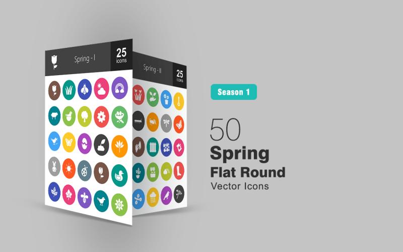 Set di icone rotonde piatte 50 primavera