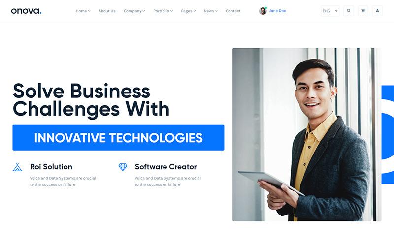Onova - Шаблон веб-сайту компанії React js для компанії з ІТ-рішень та послуг