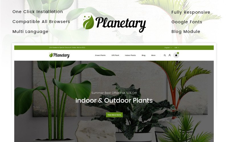 Planetario - Tema PrestaShop di Plants Store