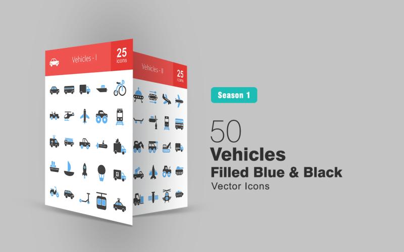 Set di icone blu e nero pieno di 50 veicoli