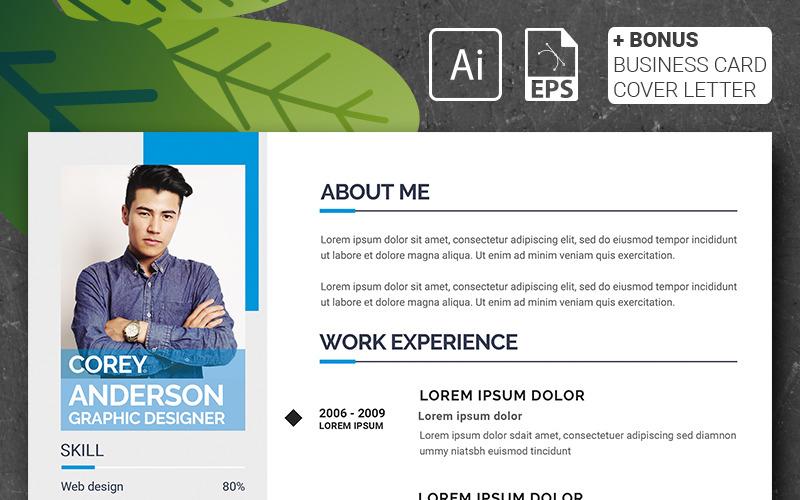 Кори Андерсон - Шаблон резюме графічного дизайнера