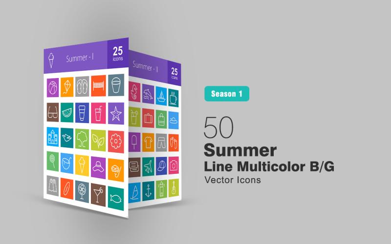 50 set di icone multicolore B / G della linea estiva