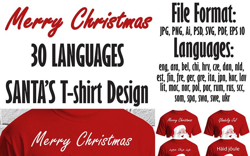 Merry Christmas 30 Languages SANTAS Design - T-shirt Design