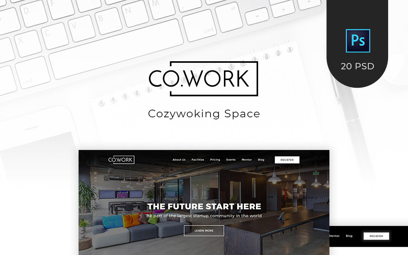 CoWork - Modello PSD per open office e spazio creativo